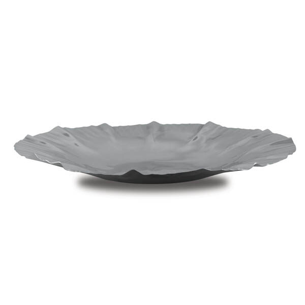 large stainless steel wave salad platter