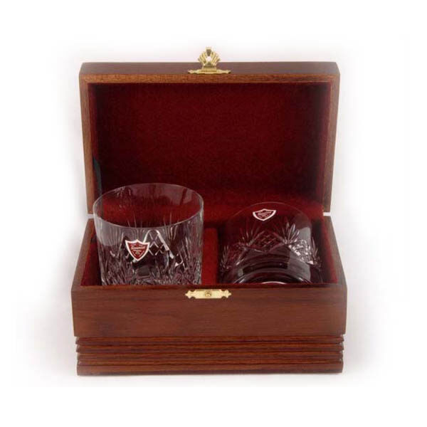 ROSEWOOD box two cut glass whiskey glasses
