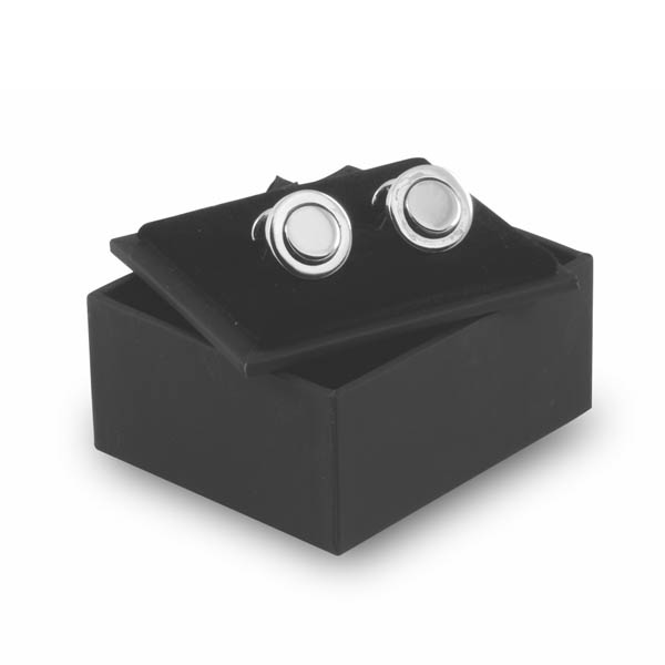 round raised cufflinks in box example of box