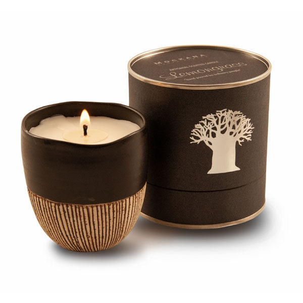 Spicy Bushwillow Candle in Black Hand Made Pottery Container